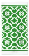 Moroccan Floral Inspired With Border In Dublin Green Beach Towel