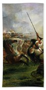 Moroccan Horsemen In Military Action Beach Towel
