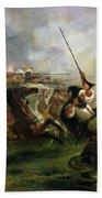Moroccan Horsemen In Military Action Beach Towel by Ferdinand Victor Eugene Delacroix