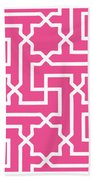 Moroccan Key With Border In French Pink Beach Towel