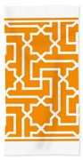 Moroccan Key With Border In Tangerine Beach Towel