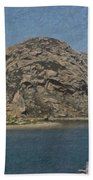 Morro Rock California Painting Beach Towel