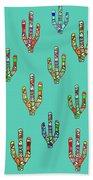 Mosaic Cacti On Aqua Beach Towel