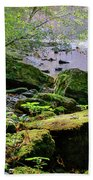 Moss Covered Boulders Beach Towel