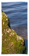 Moss Covered Rock And Ripples On The Water Beach Towel