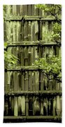 Mossy Bamboo Fence - Digital Art Beach Towel