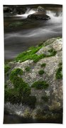Mossy Boulder In Mountain Stream Beach Towel