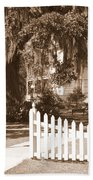 Mossy Live Oak And Picket Fence Beach Towel