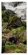 Mossy Rocks And Water Stream Beach Towel