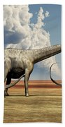 Mother Diplodocus Dinosaur Walks Beach Sheet
