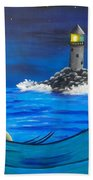 In The Glow Of The Lighthouse  Beach Towel