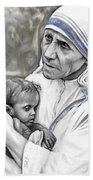 Mother Teresa. God Bless This Child Beach Towel