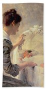 Motherhood Beach Towel by Louis Emile Adan