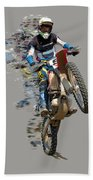 Motocross Rider With Flying Pieces Beach Towel