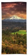 Mount Hood At Sandy River Valley In Fall Beach Towel