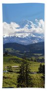 Mount Hood Over Fruit Orchards In Hood River Beach Towel