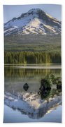 Mount Hood Reflection On Trillium Lake Beach Sheet