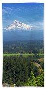 Mount Hood View From Backyard Deck Beach Sheet
