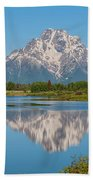 Mount Moran On Snake River Landscape Beach Towel by Brian Harig