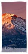 Mount Princeton Moonset At Sunrise Beach Sheet