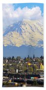 Mount Rainer Over Port Of Tacoma Beach Towel