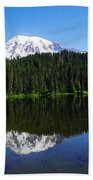 Mount Rainer Reflecting Into Reflection Lake Beach Towel