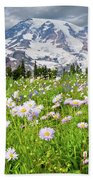 Mount Rainier And A Meadow Of Aster Beach Towel