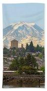 Mount Rainier At Tacoma Waterfront Beach Towel