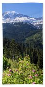 Mount Rainier From Scenic Viewpoint Beach Towel