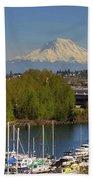 Mount Rainier From Thea Foss Waterway In Tacoma Beach Towel