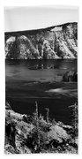 Mount Scott Behind Crater Lake B W Beach Towel