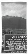 Mount Washington Nh Warning Sign Black And White Beach Towel