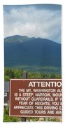 Mount Washington Nh Warning Sign Beach Towel