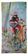 Mountain Biking 01 Beach Towel by Miki De Goodaboom