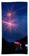 Mountain Fireworks Landscape Beach Towel