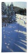 Mountain Hut Beach Towel by Andrew Macara