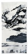 Mountain Lake In Black And White Beach Towel