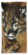 Mountain Lion - Guardian Of The North Beach Towel by J W Baker