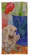 Mountain Lion Skull Tea And Tulips Beach Towel