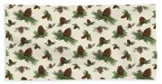 Mountain Lodge Cabin In The Forest - Home Decor Pine Cones Beach Towel