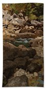 Mountain Stream With Boulders Beach Towel
