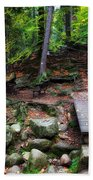 Mountain Trail With Staircase In Autumn Forest Beach Towel