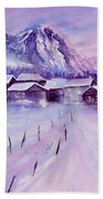 Mountain Village In Snow Beach Towel