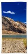Mountains And Green Vegetation Chagor Tso - Lake Leh Ladakh Jammu Kashmir India Beach Towel