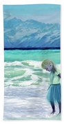 Mountains Ocean With Little Girl  Beach Towel