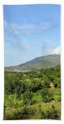 Mountains Sky And Homes In Village Of Swat Valley Khyber Pakhtoonkhwa Pakistan Beach Towel