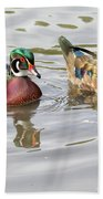Mr. And Mrs. Wood Duck Beach Towel