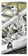 Mr Bones In Black And White With Sepia Tones Beach Towel