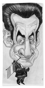 Mr Nicolas Sarkozi Caricatur Portrait Beach Towel