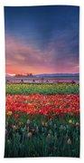 Mt. Hood And Tulip Field At Dawn Beach Sheet